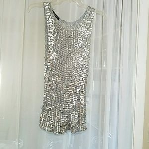 Pale blue silver sequin sleeveless top